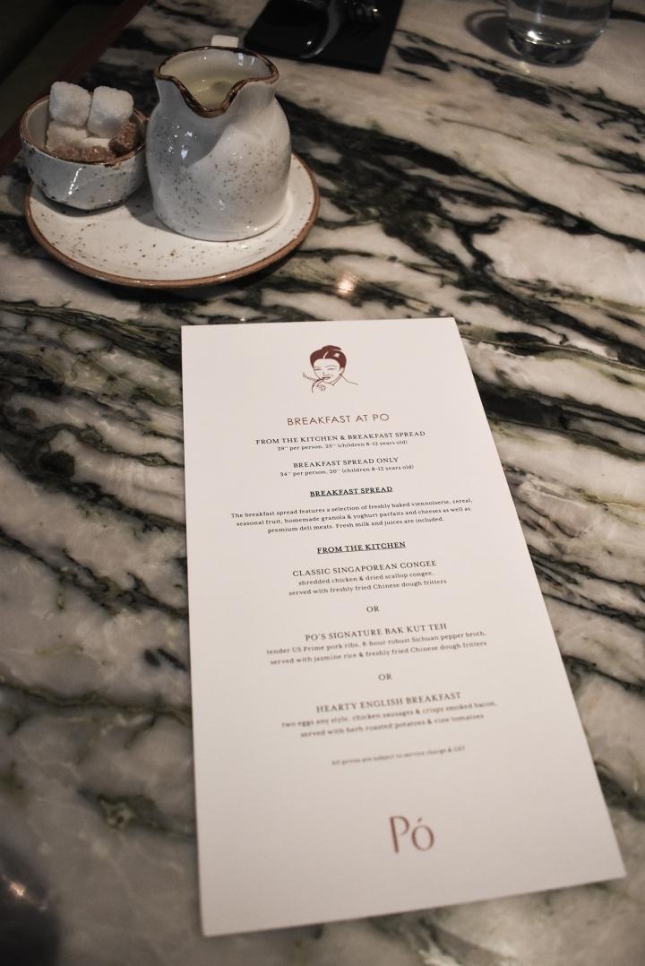The Warehouse Hotel Singapore - Po Restaurant Breakfast Menu