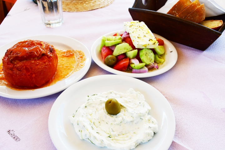 Changi Recommends Dephi Day Tour Stuffed Tomatoes, Greek Salad, Tzatiskis