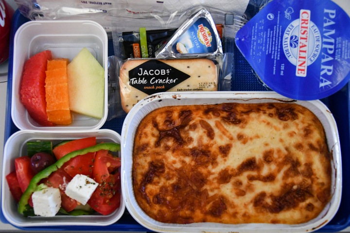 Scoot Athens to Singapore Meal on Board - Classic Greek Beef Moussaka and Feta Cheese Salad