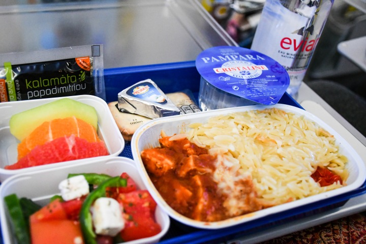 Scoot Athens to Singapore Meal on Board - Chicken Orza Pasta and Feta Cheese Salad