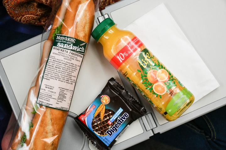 Scoot Athens to Singapore Snack on Board - a Chicken Ham Baguette Sandwich