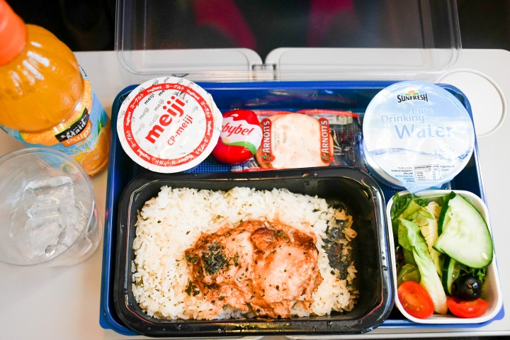 Scoot Singapore SG to Athens ATH Chicken Rice Meal On Board