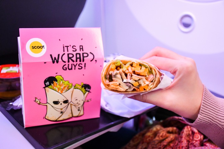 Scoot Singapore SG to Athens ATH Snack Wrap On Board